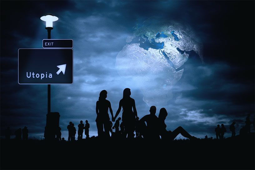 Silhouetten von Menschen, vor einem Erdball bei Nacht. Links ein Schild auf dem Utopie und Exit steht.