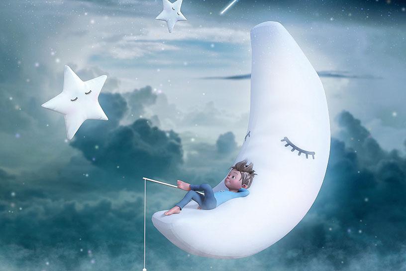 Junge liegt auf dem Mond und angelt. Umgeben von Sternen.